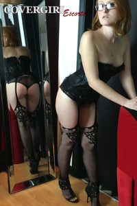 young red head in lingerie